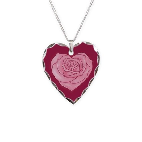 Heart Valentines Day Patterns Necklace Heart Charm