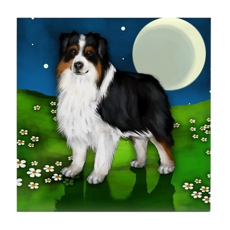 AUSTRALIAN SHEPHERD FULL MOON Tile Coaster