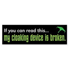 Star Trek Cloaking Device Bumper Car Sticker