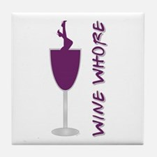 WINE WHORE PURPLE Tile Coaster