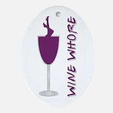 WINE WHORE PURPLE Ornament (Oval)