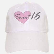 Pink Heart Sweet 16 Birthday Baseball Baseball Cap