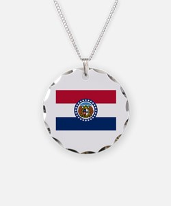 Missouri State Flag Necklace Circle Charm