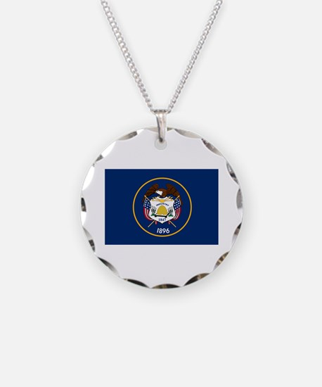 Utah State Flag Necklace Circle Charm
