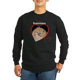 Pomeranian Long Sleeve T-shirts (Dark)