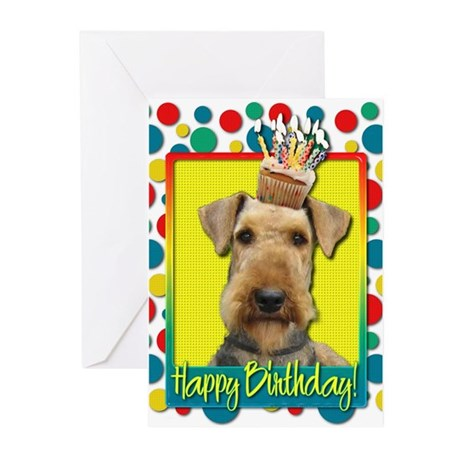 Birthday Cupcake - Airedale Greeting Cards (Pk of