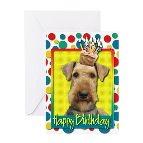 Birthday Cupcake - Airedale Greeting Card