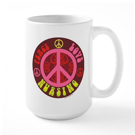 Peace, Love, Nursing Large Mug