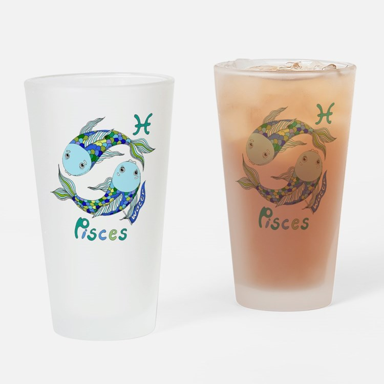 Astrology Zodiac Pisces Drinking Glass