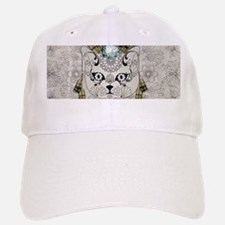 Wonderful sugar cat skull with feathers Baseball C