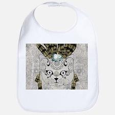 Wonderful sugar cat skull with feathers Baby Bib