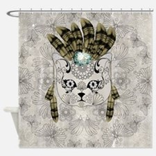 Wonderful sugar cat skull with feathers Shower Cur