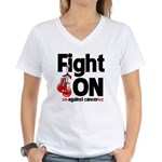 Fight On Oral Cancer Women's V-Neck T-Shirt
