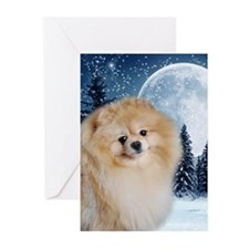 Pomeranian Xmas Moon Cards (Pk of 20