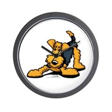 Airedale at Play Wall Clock