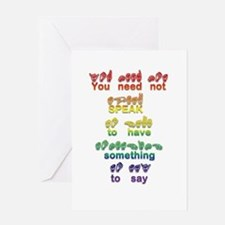 You need not speak Greeting Card