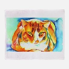 Orange Cat Throw Blanket
