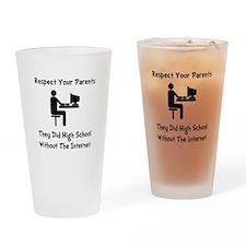 Respect Parents Internet Drinking Glass