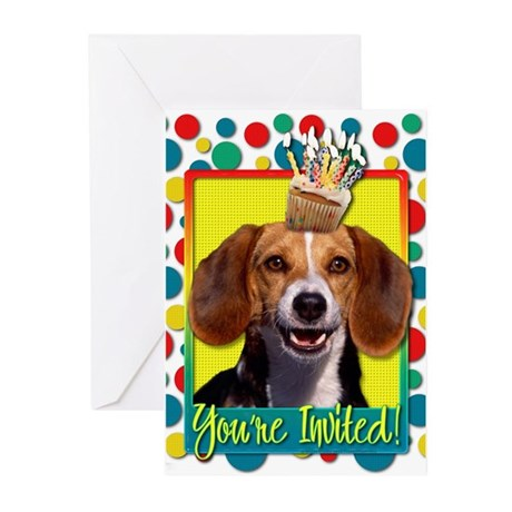 Invitation Cupcake - Beagle Greeting Cards (Pk of