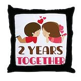 2nd anniversary Throw Pillows