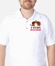5 Years Together Anniversary Golf Shirt