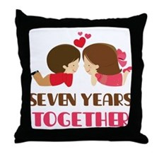 7 Years Together Anniversary Throw Pillow