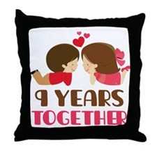 9 Years Together Anniversary Throw Pillow