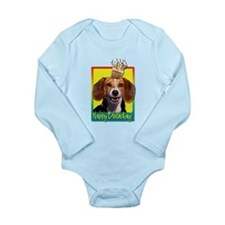 Birthday Cupcake - Beagle Long Sleeve Infant Bodys