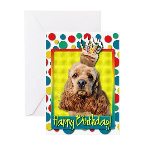 Birthday Cupcake - Cocker Spaniel Greeting Card