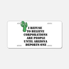 Arizona Deports Corporations Aluminum License Plat