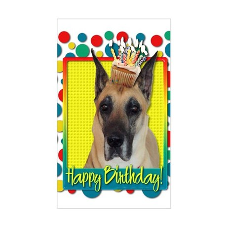 Birthday Cupcake - Great Dane Sticker (Rectangle)