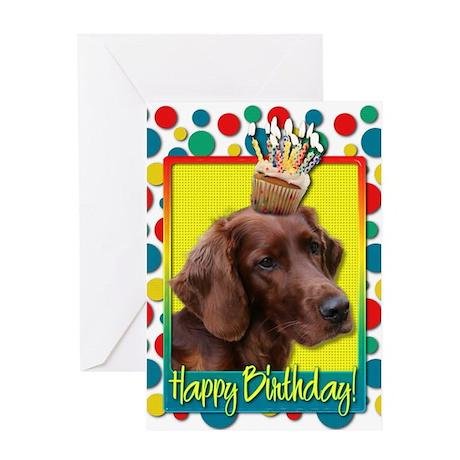 Birthday Cupcake - Irish Setter Greeting Card