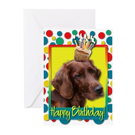 Birthday Cupcake - Irish Setter Greeting Cards (Pk