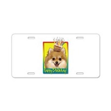 Birthday Cupcake - Pom Aluminum License Plate