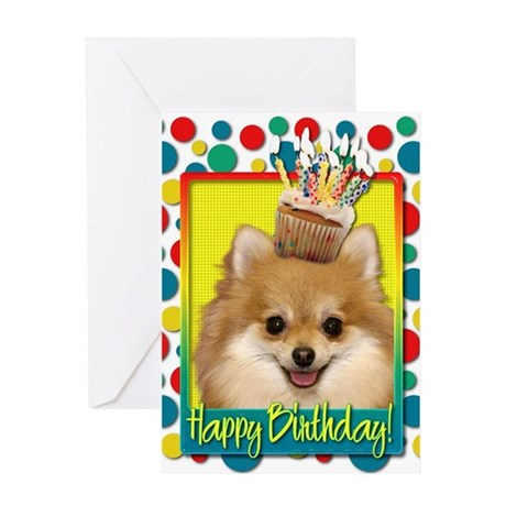 Birthday Cupcake - Pom Greeting Card