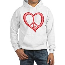 Peace Heart Love (Light Red) Hoodie