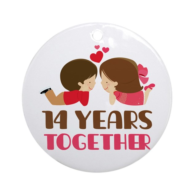 14 Years Together Anniversary Ornament Round By