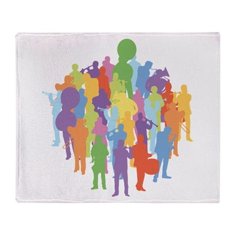 Marching Band Music Collage Throw Blanket