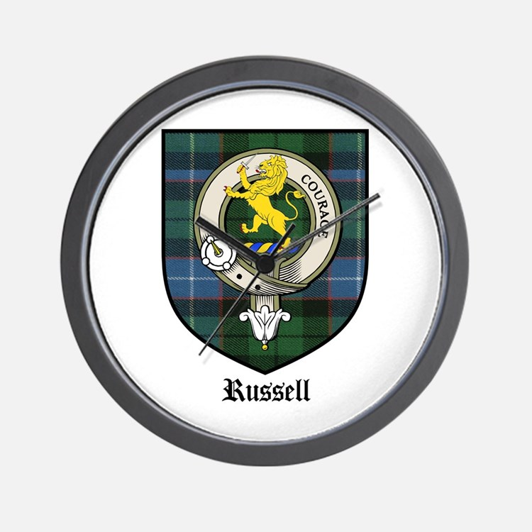 Russell Clan Crest Tartan Wall Clock