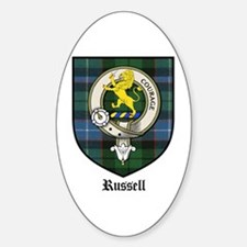 Russell Clan Crest Tartan Oval Decal