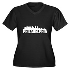 Philadelphia Women's Plus Size V-Neck Dark T-Shirt