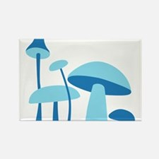 Blue Mushrooms Rectangle Magnet