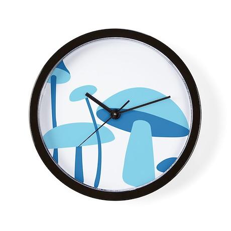 Blue Mushrooms Wall Clock