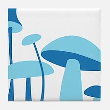 Blue Mushrooms Tile Coaster