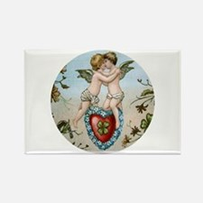 Kissing Cupids on Heart Rectangle Magnet