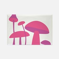 Pink Mushrooms Rectangle Magnet