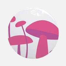 Pink Mushrooms Ornament (Round)