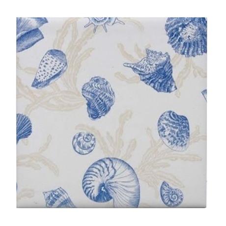 Blue Sea Shell Tile Coaster