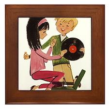 Vinyl Records Love Framed Tile