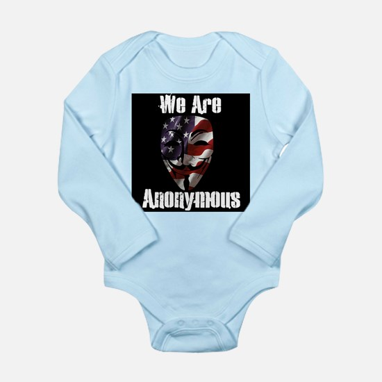 We Are Anonymous USA Long Sleeve Infant Bodysuit